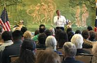 Rep. Beto O'Rourke, D-El Paso, speaks Monday at a town-hall style gathering in his home town, where he began to publicly shift away from his vow not to run for President of the United States.(Staff Photo/Alfredo Corchado)