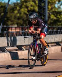 Brandi Grissom Swicegood cycles toward the finish of the Ironman 70.3 Waco bike leg on Oct. 28, 2018.(Travis Swicegood)