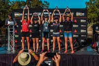 The top five finishers, including Brandi Grissom Swicegood second from the right, in the women s 40-44 age group at the Ironman 70.3 Waco.(Travis Swicegood)