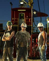 "In this image released by truTV, roughnecks, from left, Steve Cooper, Bryson Pursley and Wayne Courtney are shown in Odessa  in March 2008 for the series ""Black Gold.(Mark Hill/AP)"