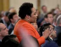 Yamiche Alcindor of <i>PBS NewsHour</i> asks a question to President Donald Trump on Nov. 7 in the East Room of the White House, a day after the midterm elections that saw Republicans retain their Senate majority but lose control of the House to the Democrats.(Getty Images/Mark Wilson)