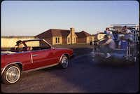 David Byrne drove in his signature maroon 1985 Chrysler LeBaron through the Dorchester Place neighborhood in Sterrett, now incorporated into Waxahachie.(Christina Patoski)