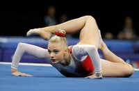 Alyssa Baumann competes in the floor exercise during the U.S. women's gymnastics championships, Friday, June 24, 2016, in St. Louis.(Tony Gutierrez/AP)