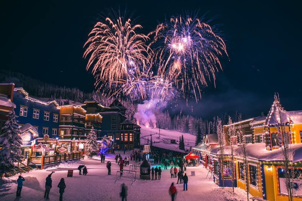 Christmas Eve fireworks are planned at Silver Star in British Columbia, where holiday happenings also include a Christmas market, an elf dance party, snowshoeing, crafts, winter wine dinners, horse-drawn sleigh rides and photos with Santa.(Roman Daudrich/Silver Star Mountain Resort)