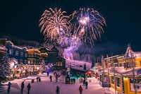 Christmas Eve fireworks are planned at Silver Star in British Columbia, where holiday happenings also include a Christmas market, an elf dance party, snowshoeing, crafts, winter wine dinners, horse-drawn sleigh rides and photos with Santa. (Roman Daudrich/Silver Star Mountain Resort)