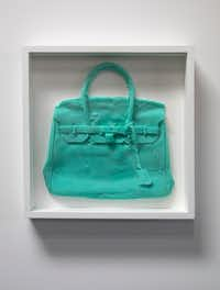 "Shelter Serra ""Homemade Hermes Birkin Bag (Aqua),"" cast silicone (unique) 18.75.x18.75 in. (framed) (The Public Trust )"