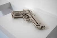 "Shelter Serra ""Fake Gun (Nickel)"" electroplated cast resin. (The Public Trust )"