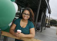 Michelle Williams, executive director with the Dallas Entrepreneur Center, talked Friday about what the opening of the Red Bird Starbucks means to Oak Cliff.(Nathan Hunsinger/Staff Photographer)
