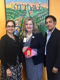 Aradhana Asava (from left), North Texas Food Bank CEO Trish Cunningham and Raj G. Asava.(North Texas Food Bank)