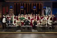 Mitch Allen hired 17 Santas, a Mrs. Claus, a snowman and reindeer for his Shark Tank pitch.(Tony Rivetti/ABC)