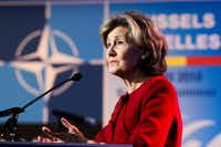 """<p>Kay Bailey Hutchison, the former U.S. senator from Texas,&nbsp; said she's """"very happy"""" in her current role as U.S. ambassador to NATO. """"<span style=""""font-size: 1em; background-color: transparent;"""">I feel so strongly about America and our leadership in NATO that I would take myself out of a U.N. position,"""" she said.</span></p>(Markus Schreiber/AP)"""