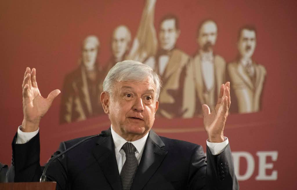 Mexico's President Andres Manuel Lopez Obrador holds his first news conference as president, which started at 7 a.m. local time in Mexico City, on Monday.(Christian Palma/AP)