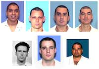 <p>Six members of the Texas Seven were sentenced to death in the Dec. 24, 2000, shooting of Irving police Officer Aubrey Hawkins. From top left, Joseph Garcia, Donald Newbury, George Rivas, Larry Harper. From bottom left, Patrick Murphy, Randy Halprin and Michael Rodriguez.</p>(Texas Department of Criminal Justice)