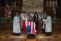 Clergy lead the State Funeral for George H.W. Bush, the 41st President of the United States, at the Washington National Cathedral on Wednesday, Dec. 5, 2018, in Washington. (Smiley N. Pool/The Dallas Morning News)