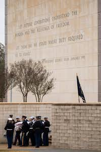 The flag-draped casket of President George H.W. Bush is carried to a burial plot close to his presidential library for internment on Thursday, Dec. 6, 2018, in College Station, Texas. (Smiley N. Pool/The Dallas Morning News)(Smiley N. Pool/TNS)