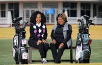 Golf pro Gladys Lee (right) focuses on teaching young people and attracting newcomers like Sheron Patterson, a Methodist minister.(Tom Fox/Staff Photographer)