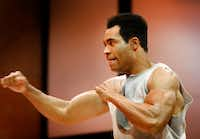 Preston Butler III as Muhammad Ali performs during a rehearsal for Dallas Theater Center's <i>Fetch Clay, Make Man  </i>at the Wyly Theatre in Dallas on Dec. 4, 2018.  (Rose Baca/Staff Photographer)