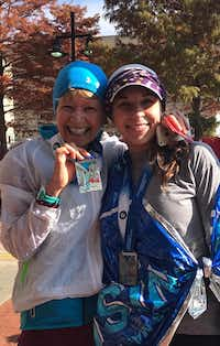 My niece, Julie Munguia Day, and I meeting up after each running 13.1 miles at the BMW Dallas Marathon race on Sunday.<div><br></div>(Leslie Barker)