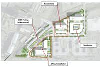 Developer Trammell Crow proposes a series of buildings to be constructed on parking lots adjacent to DART's Mockingbird Station.(DART)