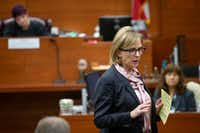 Charla Aldous, attorney for Jerry Brown's mother, Stacey Jackson, asks questions during the trial.(Shaban Athuman/Staff Photographer)