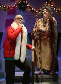 Paul T. Taylor as Stuart is guided by Marti Etheridge as the mystical<i> </i>Misery in <i>Solstice: A New Holiday Adventure</i> at Theatre Three.&nbsp;&nbsp;(Rose Baca/Staff Photographer)