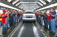 In 2017, workers celebrated as the 11th million vehicle, a 2018 Tahoe RST, rolled off the Arlington assembly line.(Mike Stone for General Motors)