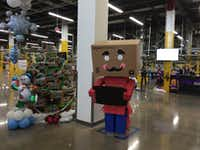 It's a tradition at Amazon fulfillment centers to have box men greeters during the holidays. (Maria Halkias/DMN Staff )