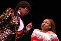 Cherish Robinson (left) as Johnnie Taylor and M. Denise Lee as Paulette in a dream sequence in&nbsp;<i> Solstice: A New Holiday Adventure</i>&nbsp;at Theatre Three.&nbsp;(Rose Baca/Staff Photographer)