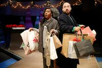 Nikka Morton plays Paulette's daughter and Jason R. Villarreal plays Stuart's son in <i>Solstice: A New Holiday Adventure</i> at Theatre Three.(Rose Baca/Staff Photographer)