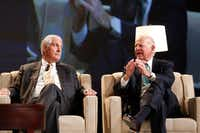 Former Secretaries of State Rex Tillerson (left) and James Baker spoke Tuesday during a Dallas Citizens Council meeting.(Nathan Hunsinger/Staff Photographer)