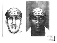 Prosecutors showed a side-by-side comparison of a police sketch of the alleged killer and rapist and Alvin Braziel Jr. during the 2001 capital murder trial.(<br>/Dallas County court records)