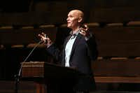 &nbsp;Anthony Doerr speaks at First United Methodist Church in Dallas in 2015.&nbsp;(Allison Slomowitz<div><br></div><div><br></div>/Special Contributor)