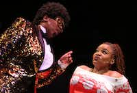"""Cherish Robinson (left) as Johnnie Taylor and M. Denise Lee as Paulette in """"Solstice: A New Holiday Adventure"""" at Theatre Three. (Rose Baca/The Dallas Morning News)(Rose Baca/Staff Photographer)"""