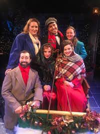 Back row from l-r: Sarah Comley Caldwell, Angel Velasco, and Erin McGrew; front row from l-r: Brian Hathaway, Marianne Galloway and Janelle Lutz in <i>A Christmas Survival Guide</i>, presented by One Thirty Productions in association with the City of Dallas and the Office of Cultural Affairs Nov. 28-Dec. 15.(Marty Van Kleeck)