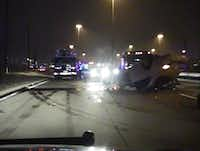 A police dash cam captured the crash scene after Josh Brent flipped his Mercedes in Irving in December 2012.(Irving Police Department.)