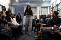 Former First Lady Michelle Obama surprise Wayne State University students during a discussion at the Motown Museum in Detroit.(Paul Sancya/AP)