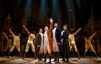 From left: Elijah Malcomb, Joseph Morales, Kyle Scatliffe, and Fergie L. Philippe star in the national tour of <i>Hamilton. </i>Morales and Walker will play Alexander Hamilton and Aaron Burr, respectively, when the show comes to Dallas next year.(Joan Marcus)