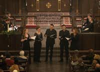 Members of Stile Antico, a British vocal ensemble, perform at Church of the Incarnation on Dec. 14, 2018.    (Rex C. Curry/Special Contributor)