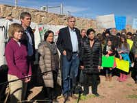 U.S. Rep. Beto O'Rourke (left) led a congressional delegation Saturday to tour tent cities in Tornillo, where more than 2,700 youths, mostly from Central America, remain in U.S. custody.(Alfredo Corchado/Staff)