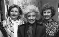 Nancy Cheney (right), pictured with Lindalyn Adams (left) and Billie Leigh Rippey (center) at a tea Jan. 4, 1990, at the residence of Allie Beth and Pierce Allman. (The Dallas Morning News)