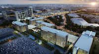 JPMorgan Chase's 1 million-square-foot, more than $300 million Plano office campus was originally shown to have five or more office buildings.(KDC)