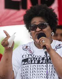 Collette Flanagan spoke at a June 2017 rally at Pike Park in Dallas.(Ryan Michalesko/Staff Photographer)