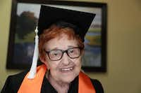 Janet Fein, 84, completed her bachelor's degree and is thinking about more classes at UTD.(LM Otero/The Associated Press)