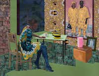 Njideka Akunyili Crosby's <i>Dwell: Aso Ebi, </i> 2017. (The Baltimore Museum of Art: Purchased as the gift of Nancy L. Dorman and Stanley Mazaroff, Baltimore, in honor of Kristen Hileman, BMA 2018.79. (Njideka Akunyili Crosby/The Baltimore Museum of Art)