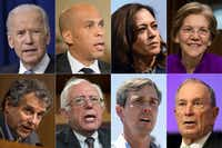 Some of the potential Democratic contenders for the 2020 presidential nomination. Top row: former Vice President Joe Biden, Sens. Cory Booker, Kamala Harris and Elizabeth Warren. Bottom: Sens. Sherrod Brown and Bernie Sanders, Rep. Beto O'Rourke, and Michael Bloomberg, former New York City mayor.(AFP/Getty Images)