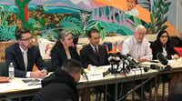 Attorney Enrique Moreno and other lawyers insisted an independent investigation be conducted in the death of 7-year-old Jakelin Caal Manquin. From from left, attorneys Chris Benoit, Lynn Coyle and Moreno; Ruben Garcia of Annunciation House (speaking); and attorney Elena Esparza.(Alfredo Corchado/Staff Photo)