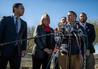 """New Mexico Rep. Ben Ray Lujan, second right, speaks before the media after a facility tour at the Border Patrol Station in Lordsburg, N.M., Tuesday, Dec. 18, 2018. Jakelin Caal, 7, and her father were found Dec. 6 along with more than 160 others in a desolate New Mexico region, some 90 miles away from the Border Patrol facility where they were taken into custody. Caal later died. From left are Texas Reps. Joaquin Castro, Sylvia Garcia, Jesus """"Chuy"""" Garcia and Al Green. (Roberto E. Rosales/The Albuquerque Journal via AP)(Roberto E. Rosales/AP)"""