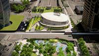 Renderings show the planned expansion of Klyde Warren Park in Dallas. The expansion will include a 20,000-square foot pavilion -- containing a visitors center and a 75-space parking garage.(M2 Studio/Klyde Warren Park)