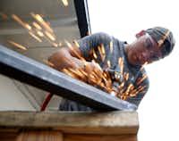 Alvaro Luna Jr., junior, works during shop class at Skyline High School.(Nathan Hunsinger/Staff Photographer)