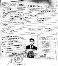 Tito Risner changed his name after coming to the U.S. and claimed to have been born in Spain. But his  Colombian citizenship card application, shown here, indicates he was born in Colombia under the name, Jose Tito Rodriguez Calderon. (Northern District of Texas)